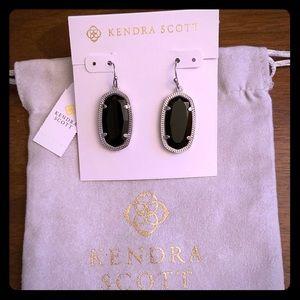 NWT KS Silver Dani Earrings In Black Opaque Glass